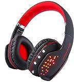 MindKoo ワイヤレスヘッドフォン Bluetoothヘッドフォン ステレオ高音質ヘッドセット ノイズキャンセリング機能搭載 マイク内蔵 ライト付き 折り畳み式 日本語説明書付き【レッド】