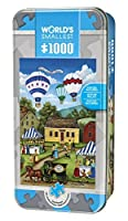 MasterPieces World's Smallest Blueberry Festival - Hot Air Balloons 1000 Piece Tin Box Jigsaw Puzzle by Bonnie White [並行輸入品]