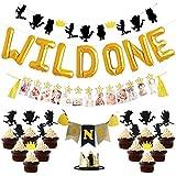 1歳誕生日飾り付け ブラックゴールド かっこいい 男の子 子供 バースデークラウン 1歳の写真バナー wild oneバルーン