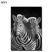 LFDYHフレームレス手作りの油絵キャンバス動物シマウマ大規模な現代の壁アート画像家の装飾50センチ×60センチなしフレームワーク
