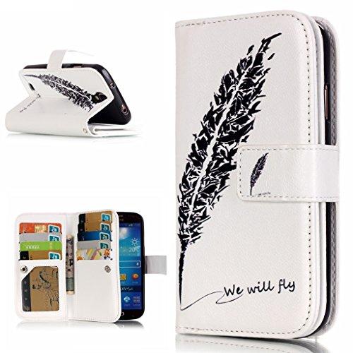 OMATENTI Samsung Galaxy S4 用 PUレザー手帳型ケース [強化ガラスフィルムを無料で贈ります] [無期限生涯補償付き] 耐摩擦 耐汚れ 全面保護 フリップ 人気 横開き スマートフォン カバー (フェザー #1)
