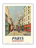 パリ、フランス - モンマルトル - 聖心 - ルーデュシュヴァリエ・デ・ラ・バレ - ビンテージな世界旅行のポスター によって作成された モーリス・ユトリロ c.1953 - アートポスター - 23cm x 31cm