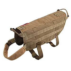 OneTigris ペット犬用サバゲーベスト 犬ベストハーネス 胴輪MOLLE対応 サイズS/M/L/XL  大中小型犬対応(タン, M)