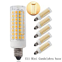 E11 led bulb, Dimmable, Mini Candelabra Base,60W or 75W Equivalent halogen Repalcement 500 Lumens, AC110V/ 120V/ 130V, Warm White 3000K,Replaces T4 /T3 JD Type Clear E11 Light Bulb (Pack of 5) [並行輸入品]