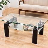 センターテーブル 「マックス(クリアガラス)」【ブラック色/黒色】 100cm幅