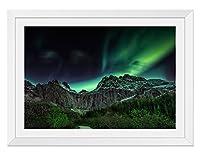 オーロラロックマウンテン 風景の写真 木製額縁 アートポスタ(40cmx60cm白色)