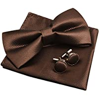Alizeal Mens Party Bow Tie, Handkerchief and Cufflinks Set
