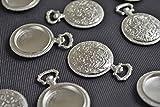 【 ビーズクラブ 】 アクセサリーパーツ レジン ミール皿 丸デザイン 古代銀 フレーム 38mm 1個