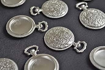 ビーズクラブ アクセサリーパーツ レジン ミール皿 丸デザイン 古代銀 フレーム 38mm 1個