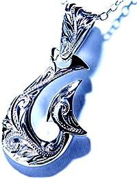フィッシュフック(釣り針) モチーフ マーメイド(人魚) アレンジデザイン スクロール(波) 彫り装飾 メンズ ハワイアンジュエリー シルバー925 ペンダント ネックレス