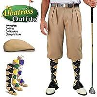 メンズゴルフKnicker Outfit–カーキゴルフKnickers、ゴルフキャップ、3アーガイルソックス