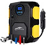 Tyre Inflator, QZT Portable Air Compressor with LED Lamp Digital Pressure Gauge 3 Valve Adapters, 3M Cord with 12V DC Cigarette Plug