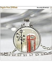 販売の赤い電話ボックスロンドン?イングランド英国の電話ボックスの冬のジュエリーアートペンダントチェーン付青銅や銀の中に含まれる