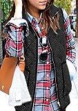 Yidarton ダウン ベスト ウルトラライト レディース 綿入れのチョッキ 袖なしの胴着 立ち襟 ダウンジャケット コート 超軽量 ライトダウン 防寒防風 ノースリーブ カジュアル アウトウェア 暖かい (XXL, ブラック)