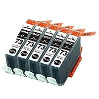 Canon キヤノン PGI-73MBK マットブラック 単品5個セット 互換インクカートリッジ ICチップ(残量表示機能)付き PGI-73