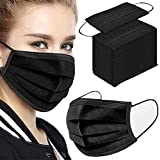 Disposable BLACK COLOR 3-Ply Safety Face Mask with Elastic Ear Loop for for Office, Outdoor (Adult Black 50 pcs)