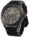SHARK ARMY SAW184メンズ アナログ クオーツ 防水 日付表示 ブラック レザーバンド腕時計