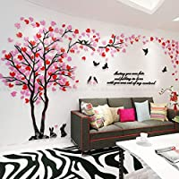 ACHICOO 壁ステッカー リビングルーム テレビ 背景 装飾 3Dツリー 鳥パターン 自己接着 アクリル ウォールステッカー ピンク+ブライトレッド 小さい
