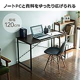 サンワダイレクト シンプルワークデスク 幅120cm×奥行60cm パソコンデスク パソコン台 ブラック 100-DESKF004BK 画像