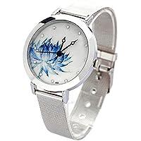 TOOGOO New Women Mesh Quartz Wrist Watch Round Dial Stainless Steel Quartz Art Gift Blue Lotus