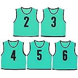 ビブス 大人用 ナンバー付き 5枚セット メッシュバッグ入り ゲームベスト ブルー 2-6番