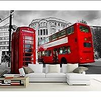 Lixiaoer 3Dカスタム壁紙壁画英国ロンドンバスクラシックカー建物の背景壁ホテル壁画リビングルームの壁紙-280X200Cm