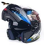 X.N.S(希望)XNS-779 新入荷 バイクヘルメット フルフェイスヘルメット システムヘルメット ダブルシールド ジェット モンスターエナジー (XL, 黒鷹)