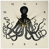 3dRose dc_112921_1 ビンテージ タコ - 黒と白の主人 ボドナー クラーケン クトゥルー ノーティカル 水中 海 巨大 イカ デスク時計 15.24cm x 15.24cm
