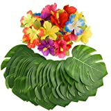 """Kuuqa 54 Pcs Tropical Party Decoration Supplies 8"""" Tropical Palm Leaves and Hibiscus Flowers, Simulation Leaf for Hawaiian Luau Party Jungle Beach Theme Table Decorations"""