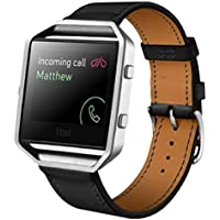 Smart Watch Band, Lookatool Luxury Leather Watch band Wrist strap For Fitbit Blaze Smart Watch (Black)