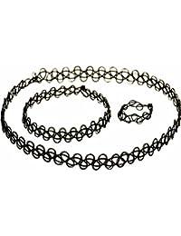 シルバーワン(Silver1) 3PCS弾性ネックレスブラックチョーカー タトゥーワイヤーネックレス