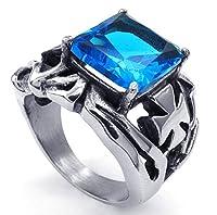 PW 高品質チタンとステンレ ブルー宝石指輪 23480 【ラッピング対応】