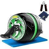 NAKO 腹筋ローラー エクササイズローラー 筋トレ アブホイール 膝マット付き スリムトレーナー トレーニング アシスト機能 (グリーン)