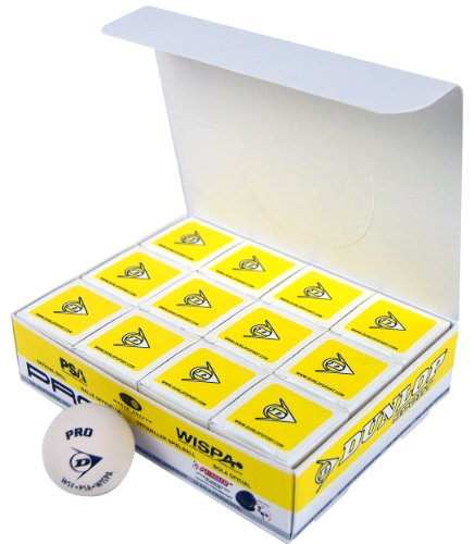 Dunlop Sports Pro Glass Court Squash Ball (White, Pack of 12)