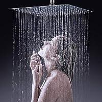 Xfホーム12 ''レインシャワーヘッド固体超薄型ブラシニッケル304ステンレス鋼滝スクエア固定シャワーヘッド、高圧シャワーバスヘッド