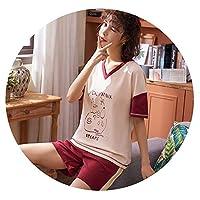 夏の新しいパジャマの女性の綿の半袖ショートパンツは、ホームサービススーツの女性の韓国語バージョン,Y1204,XXL