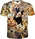 (ピゾフ)Pizoff メンズ 猫柄 Tシャツ 丸首半袖 ネコ柄 総柄 かわいい 原宿系 おもしろ 個性的 ストリート 快適 カジュアル V系 男女兼用 トップス Y1648-61-M