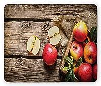 フルーツマウスパッド、木製の床にあるリンゴの箱錆びた有機栄養ビタミン収穫、標準サイズの長方形の滑り止めラバーマウスパッド、ペールブラウンレッド