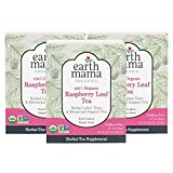 Earth Mama Organic Raspberry Leaf Tea Bags for Labor Tonic and Menstrual Support, 16-Count (3-Pack)