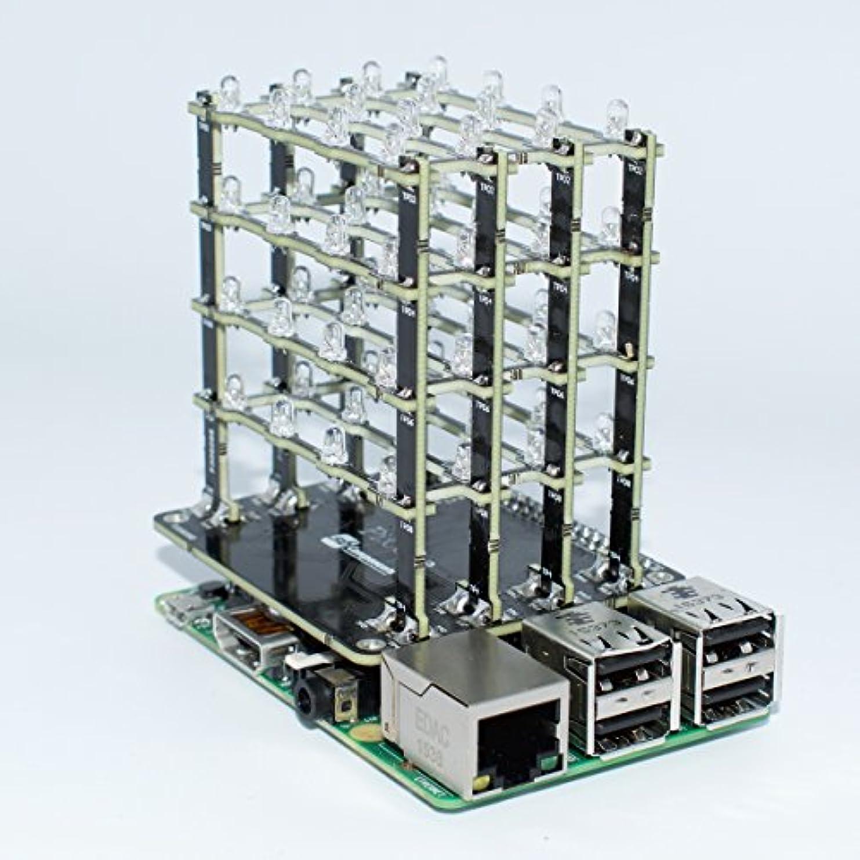 半導体外交問題ステレオpicube 4 x 4 x 4のLEDキューブラズベリーPi 3,2、ゼロ、A + Assembledグリーン