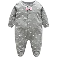 Weixinbuy Toddler Baby Boys Cotton Bowknot Printed Snap-Up Romper Footie Clothes