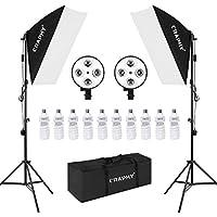 CRAPHY 写真用連続照明セット 16件キット 4ソケットスタジオソフトボックス 16件(10 x 45W電球、2 x 4ヘッド照明ホルダー、2 xライトスタンド 、キャリングバッグ付き)
