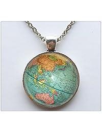 熱いガラスのドーム型のネックレスの宝石地球惑星地球の世界地図のネックレスアートガラスドームのペンダントネックレス