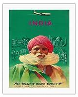 インド - レッドターバンでシーク教徒 - パンアメリカン航空 - ビンテージな航空会社のポスター c.1950s - キャンバスアート - 51cm x 66cm キャンバスアート(ロール)