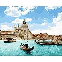 LovetheFamily 数字油絵 数字キット塗り絵 手塗り DIY絵 デジタル油絵 ボート 40 x 50 cm ホーム オフィス装飾