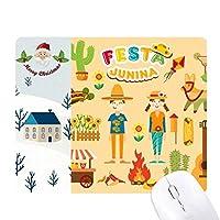 笑顔の火のサボテンのギター・フェスティバルのイラスト サンタクロース家屋ゴムのマウスパッド