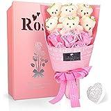 YOBANSA ソープフラワー 石鹸 花 バラ 造花 花束くま束 ベア ブーケ 可愛いぬいぐるみ (ベア6匹,花5匹) 父の日 誕生日 結婚祝い 結婚記念日のプレゼントにお勧め (ピンク)