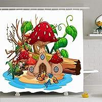 フック付きシャワーカーテンセット60x72シーンキノコの家池おとぎ話クリップアート描画自然オブジェクト公園グラフィックログ動物屋外防水ポリエステルファブリックバス浴室の装飾 180X180 CM