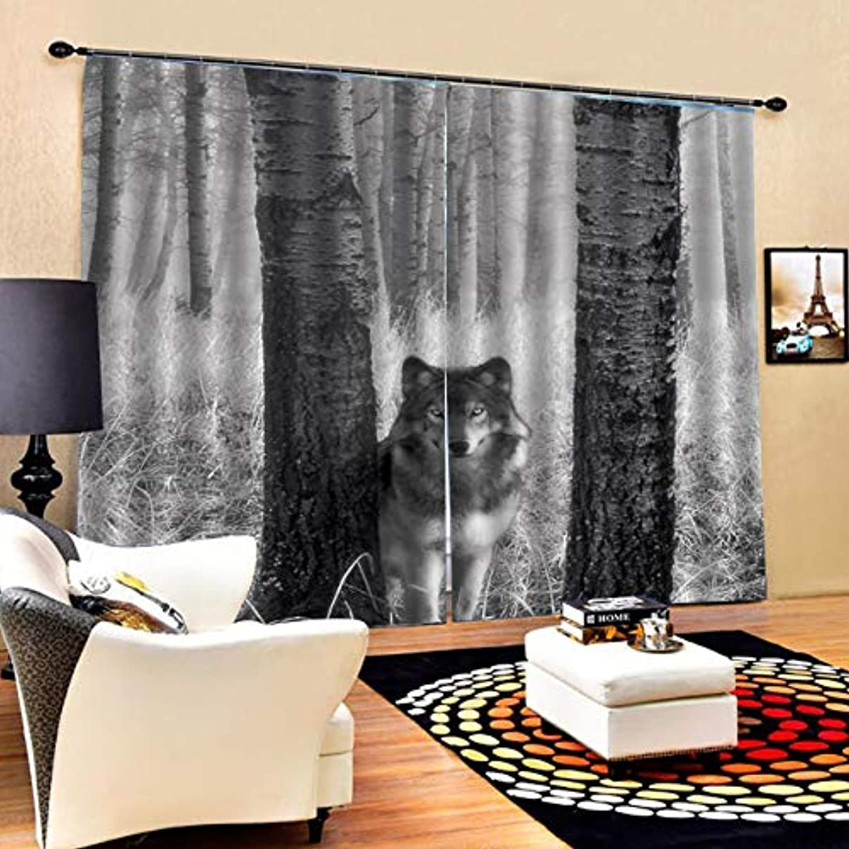 工場日焼けオーラルデジタル印刷3D遮光カーテンリビングルームの寝室のカーテンUVカット窓のシールド装飾(11)(色:多色)