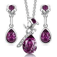 CDE     alloy flower-shape rose-shape   pink white crystal  Purple